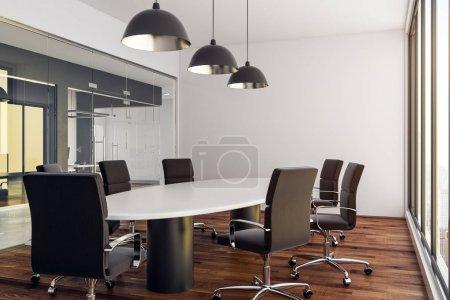 Photo pour Salle de réunion moderne intérieur avec vue sur la ville et de la lumière du jour. rendu 3D - image libre de droit