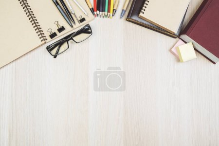 Modern office table with supplies