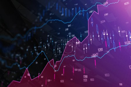 Photo for Creative glowing forex background. Analysis and trade concept. 3D Rendering - Royalty Free Image