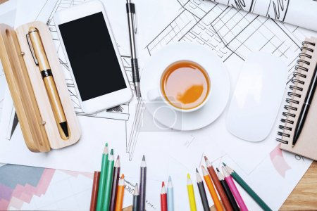 Wooden desktop with items