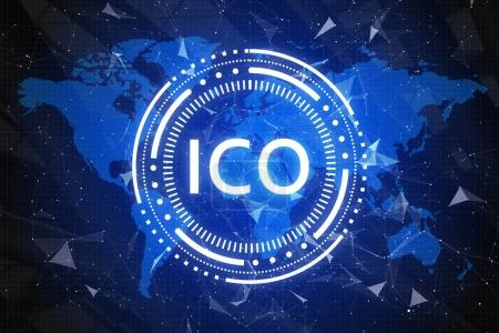 Photo for Creative ICO wallpaper. Cryptocurrency and global e-commerce concept. 3D Rendering - Royalty Free Image