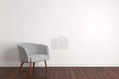 Photo pour Intérieur de chambre simple avec fauteuil confortable et mur en béton blanc avec espace de copie. Maquette, rendu 3D - image libre de droit