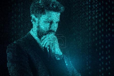 Binary code businessman