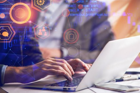 Photo for Programming, computing and occupation concept. Close up of hands using laptop on abstract background with HTML code. Double exposure - Royalty Free Image