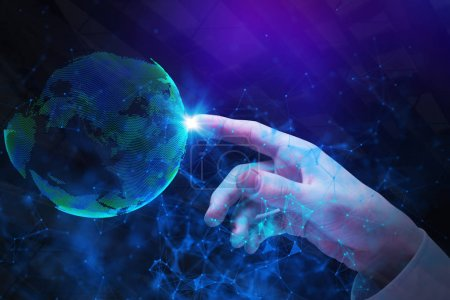 Photo pour Main d'homme d'affaires pointant au globe polygonale abstraite. Concept d'affaires global. Double exposition - image libre de droit