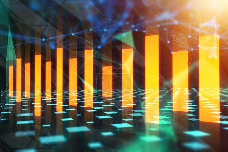 Glowing business chart background