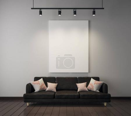 Photo for Contemporary living room interior with couch and empty poster. Mock up, 3D Rendering - Royalty Free Image