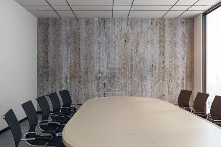 Photo pour Salle de conférence moderne avec mobilier et espace de copie sur le mur. Maquette, rendu 3D - image libre de droit