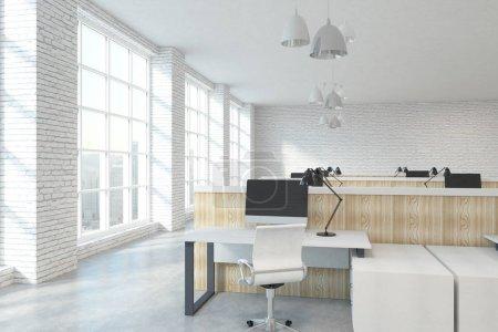 Photo pour Brique blanche contemporaine coworking intérieur bureau meubles, équipement et la ville Découvre avec la lumière du soleil. rendu 3D - image libre de droit