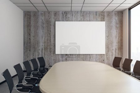Modern meeting room with empty poster