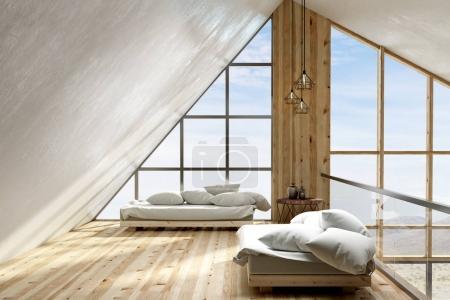 Photo pour Intérieur du loft moderne salle de séjour avec vue du ciel et des meubles. rendu 3D - image libre de droit