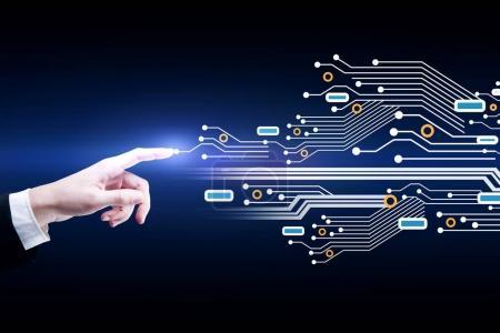 Photo pour Main d'homme d'affaires pointant vers le modèle abstrait de circuit lumineux. Logiciel et concept informatique. Rendu 3D - image libre de droit