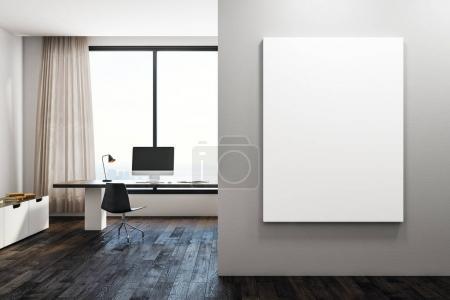 Foto de Interior de oficina moderno con lugar de trabajo, ventana con vista a la ciudad y limpia en muro de hormigón. Mock up, render 3d - Imagen libre de derechos