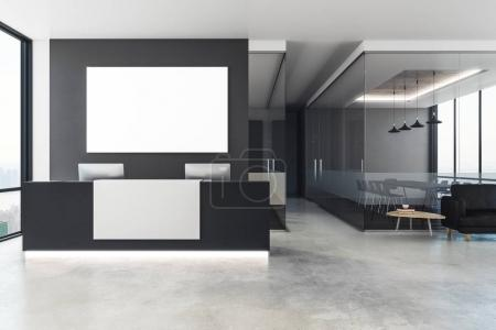 Photo for Modern office interior with reception desk and empty poster on wall. Mock up, 3D Rendering - Royalty Free Image