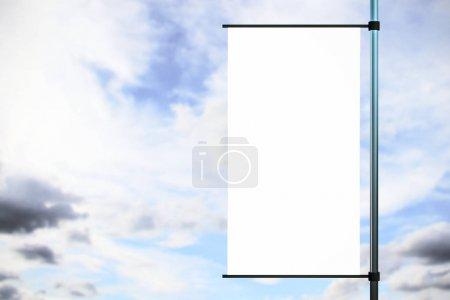 Empty rectangular white flag billboard