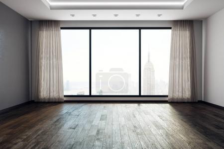 Photo pour Salon contemporain du vide intérieur avec panoramique vue sur la ville de New York et des rideaux. rendu 3D - image libre de droit