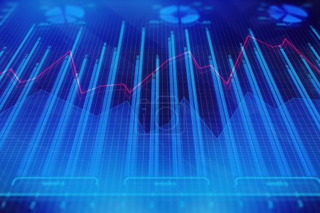 Photo for Creative forex chart backdrop. Investment, trade and future concept. 3D Rendering - Royalty Free Image