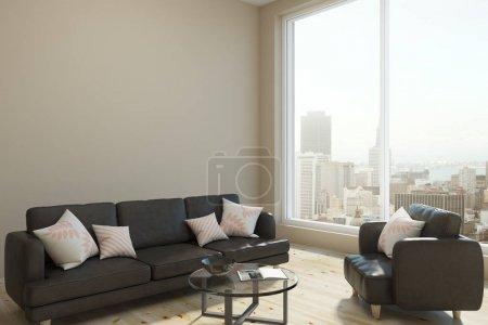 Photo pour Salon contemporain intérieur avec vue panoramique sur la ville, lumière du jour et espace de copie sur le mur. Maquette, rendu 3D - image libre de droit