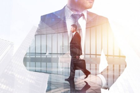Photo for Success and boss concept. Businessman on abstract white office and city background with sunlight. Double exposure - Royalty Free Image
