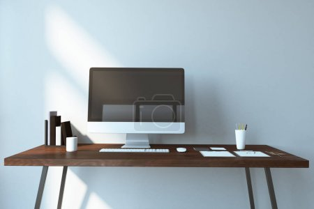 Photo for Creative designer desktop with empty computer, coffee cup, supplies and other items. Mock up, 3D Rendering - Royalty Free Image