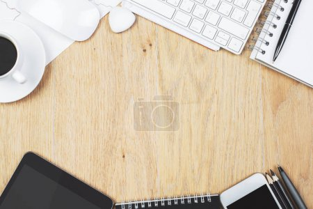 Photo for Top view of modern wooden office desk top with supplies and copy space. Design and work place concept. Mock up - Royalty Free Image