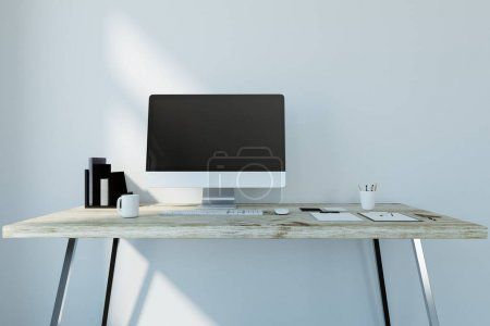 Photo for Creative designer workplace with empty computer, coffee cup, supplies and other items. Mock up, 3D Rendering - Royalty Free Image