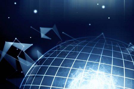 Foto de Telón de fondo del mundo digital creativa. Concepto global de negocio, red y comunicación. Render 3D - Imagen libre de derechos