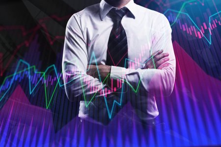Businessman with creative forex chart