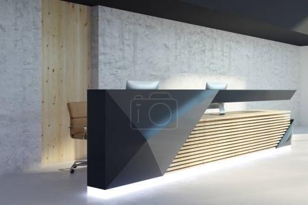 Photo pour Vue de côté de réception lumineuse dans l'intérieur des bureaux modernes. Concept de zone de Hall d'accueil et d'attente. rendu 3D - image libre de droit