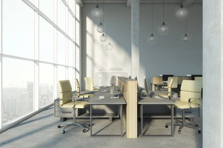 Modern concrete coworking interior