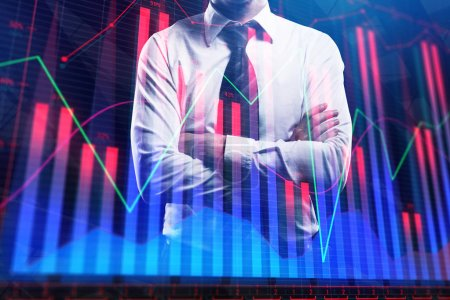 Photo pour Homme d'affaires réfléchi avec graphique forex lumineux. Concept de gestion, de finance et d'analyse des fonds. Double exposition - image libre de droit