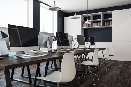 Photo for Modern coworking office interior with city view, daylight, furniture and equipment. 3D Rendering - Royalty Free Image