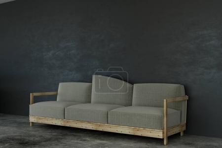 Couch in concrete room