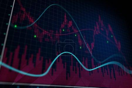 Photo pour Arrière-plan du graphique forex créatif. Concept de finances et du commerce. rendu 3D - image libre de droit