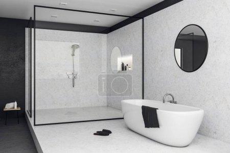 White glass bathroom interior