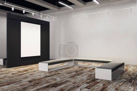 Contemporary exhibition hall with empty billboard