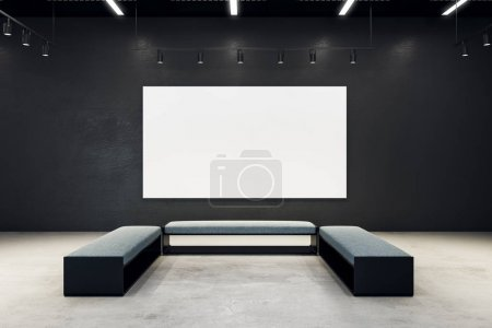 Contemporary exhibition hall with empty banner
