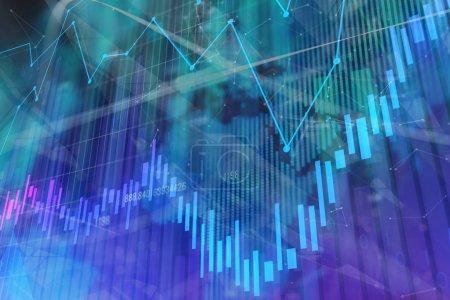 Photo pour Texture de forex brillant coloré. Investissement, stock, finances, analyse et profit. rendu 3D - image libre de droit