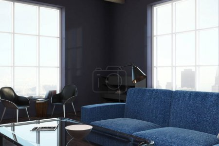 Photo for Contemporary living room interior with panoramic city view and furniture. 3D Rendering - Royalty Free Image