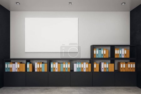 Photo for Modern office interior with cupboards full of ring binders and document folders. Empty white poster on concrete wall. Mock up, 3D Rendering - Royalty Free Image