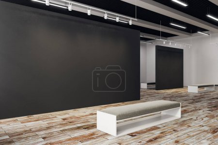 Photo for New exhibition hall with copy space on wall and bench. Gallery, art, exhibit and museum concept. Mock up, 3D Rendering - Royalty Free Image