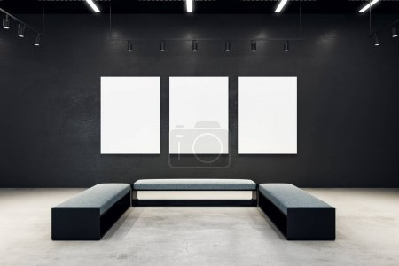 Contemporary exhibition hall with empty poster