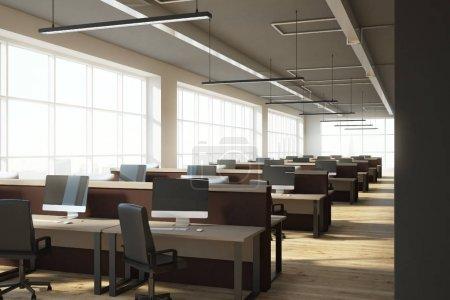 Photo pour Coworking intérieur de bureau avec vue sur la ville contemporaine. Concept de lieu de travail. rendu 3D - image libre de droit
