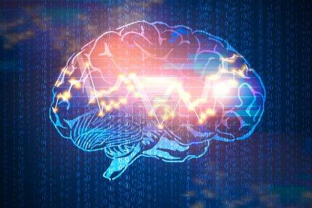 Photo pour Résumé cerveau numérique avec graphique forex sur fond de code binaire. Computing, ai et concept de commerce. Rendu 3D - image libre de droit