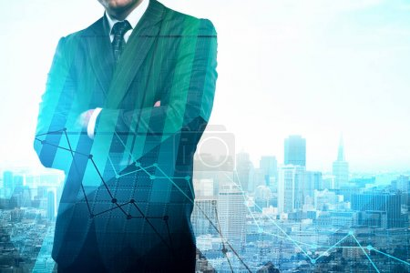 Photo for Unrecognizable young businessman standing on abstract city background with forex chart and copy space. Stock and investment concept. Double exposure - Royalty Free Image