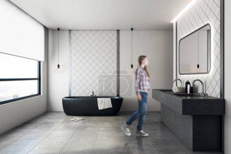 Photo pour Jolie femme jeune floue marche intérieur abstrait de salle de bains. Concept maison et maison. rendu 3D - image libre de droit