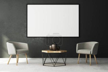 Photo pour Intérieur de salon contemporain avec vide affiche sur le mur de béton et des meubles. Style et concept de publicité. Mock up, rendu 3d - image libre de droit