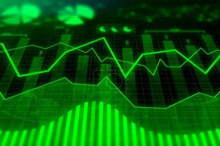 Photo pour Tableau abstrait forex. Concept d'investissement, de commerce, de finances et d'analyse. rendu 3D - image libre de droit