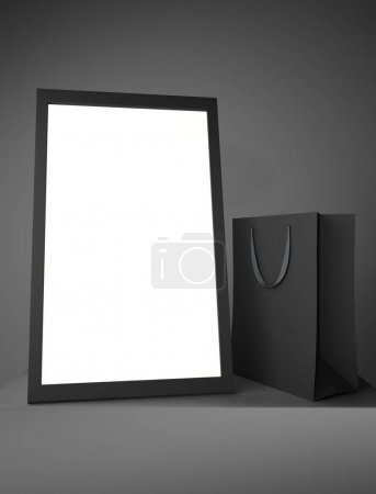 Empty shopping bag and frame