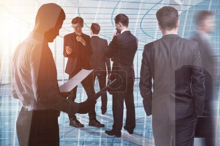 Photo for Crowd of young european businesspeople standing in modern glass office interior. Toned image. Meeting, teamwork and conference concept. Double exposure - Royalty Free Image